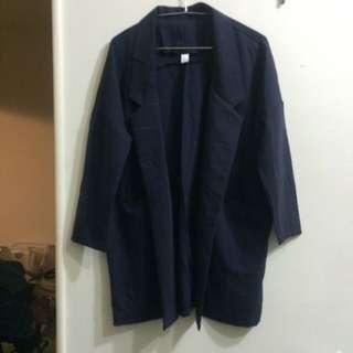 深藍薄西裝大衣 風衣 外套