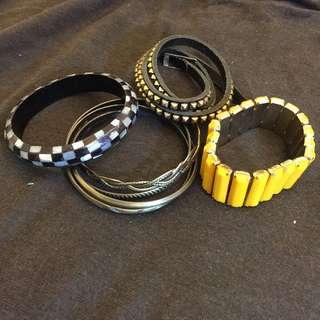 手環手鏈四入組 貝殼馬賽克/復古銅四圈/長方黃鑽/龐克卯丁皮圈 免運
