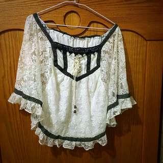 二手韓被圓形蕾絲罩衫