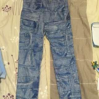 牛仔褲印花內刷毛內搭褲