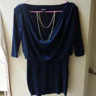 寶石藍洋裝 連衣裙(贈送項鏈)