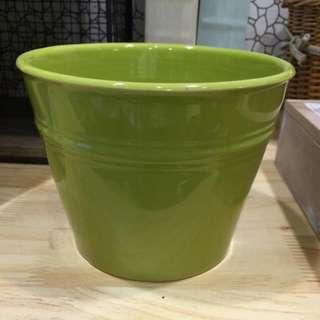 《 全新良品 》 綠色陶瓷花盆 置物盆