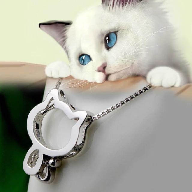 925純銀小貓咪鏤空項鍊 貓鎖骨鍊 貓咪項鍊 純銀項鍊 造型貓咪