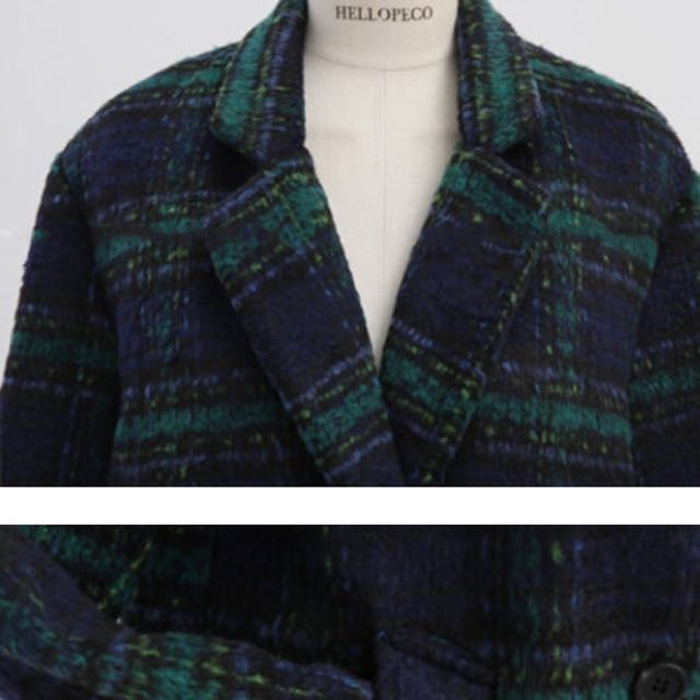含運冬天必備綠格紋毛呢外套