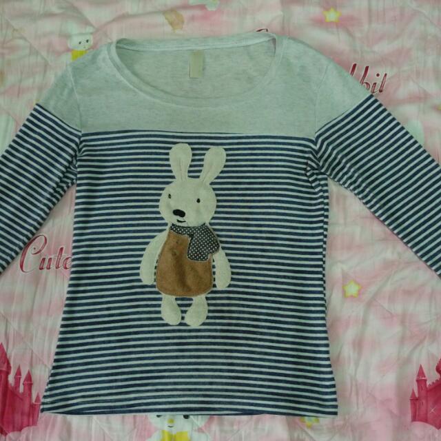 法國 兔 條紋 上衣