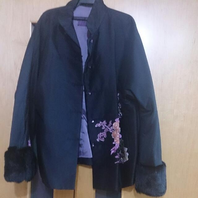 黑色超質感中國風外套