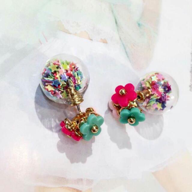 🎉正韓耳環🎉小花氣泡耳環💞滿滿繽紛star耳環
