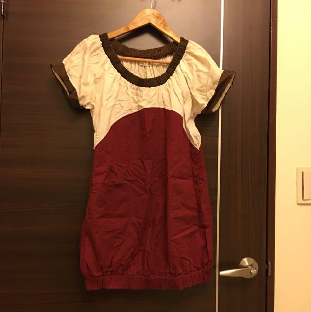 韓國帶回撞色洋裝