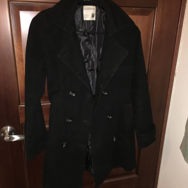 韓國製黑色長版大衣
