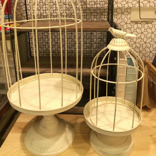 《 全新良品 》 大小白色鳥籠,1250、950