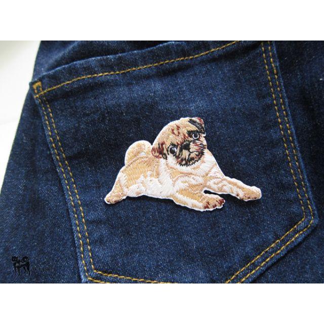 巴哥 狗狗 圖案 刺繡 熨燙 貼布 布貼 縫紉 DIY 手工 貼花