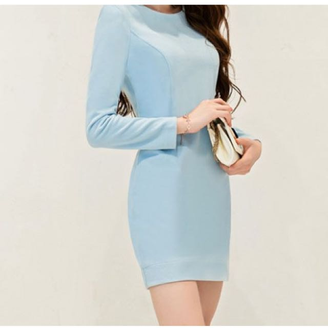 長袖洋裝-淺藍色 L號(含運)