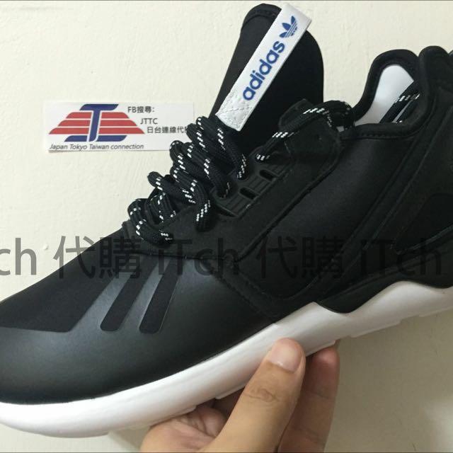 (現貨)adidas tubular Runner 黑白 藍標