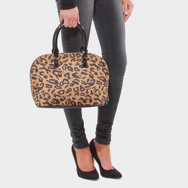 Armani Jeans Leopard Zip Top Bag