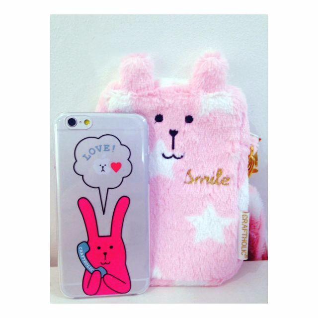 Craftholic •⑅• 新款手機殼 硬殼 透明殼 PRESENT CRAFT iphone 6 6s rab sloth 粉紅色兔兔子熊熊講電話愛心 i6 i6s 玫瑰金 64g