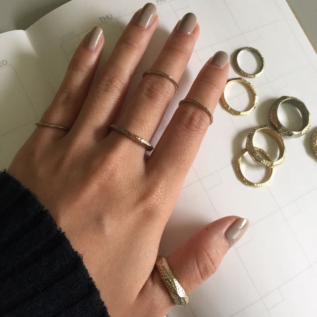 💍Forever21 金色 波紋 戒指組 11入一組