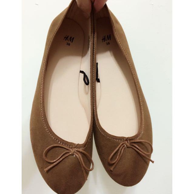 (保留) [H&M] 駝色平底娃娃鞋