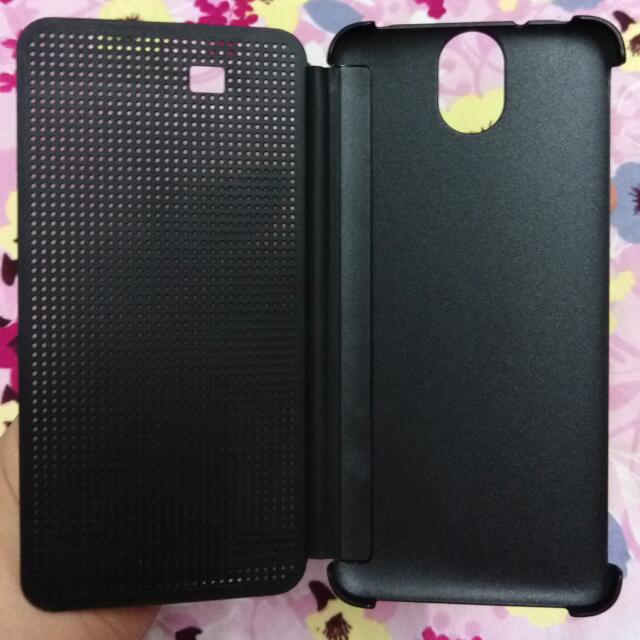 (保留)HTC E9+ 黑色智慧立顯皮套(點陣皮套.洞洞套)