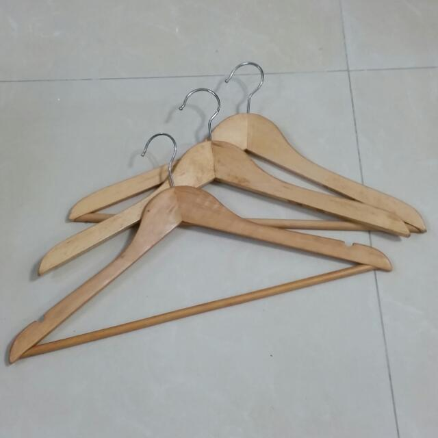 Preloved ikea wooden hangers set of 10 furniture on for Wooden hangers ikea