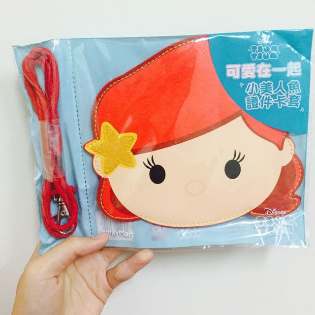 全新💋TsumTsum小美人魚證件卡套 可掛脖子 上班族 學生 通勤必備 可愛