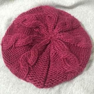 NET酒紅色毛帽