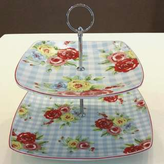 Cake stand 2 Tier - Blue Gingham