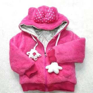 米妮厚款點點蝴蝶結連帽外套