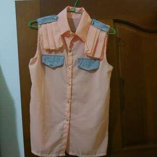 粉橘色雪紡無袖襯衫