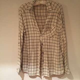 超軟白色棋盤格子襯衫
