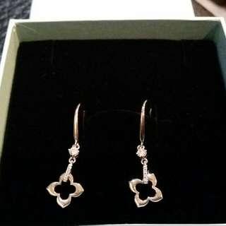 寶儷金水晶鑽耳環