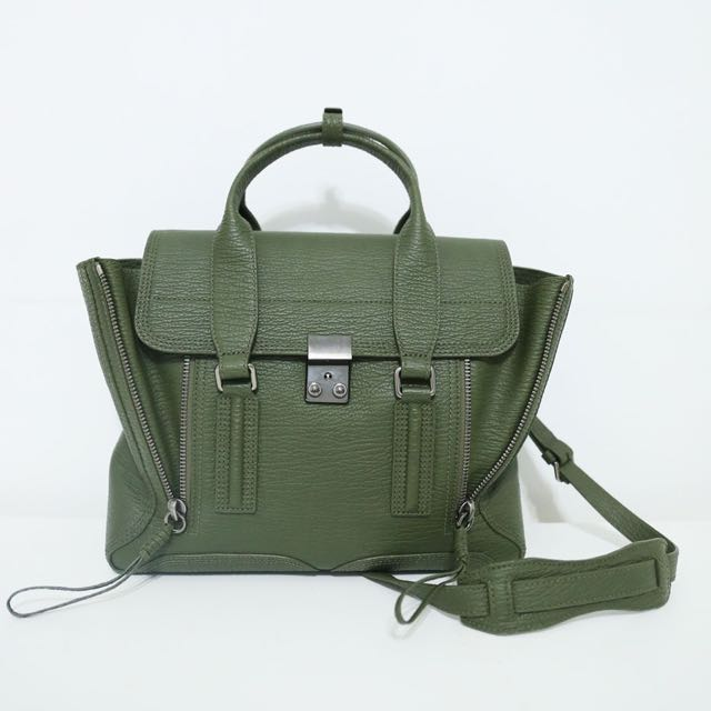 3.1 Phillip Lim Pashli Medium Zip Satchel Bag, Military
