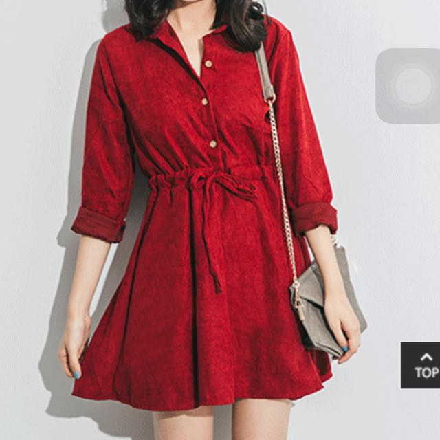 綁腰排扣紅洋裝