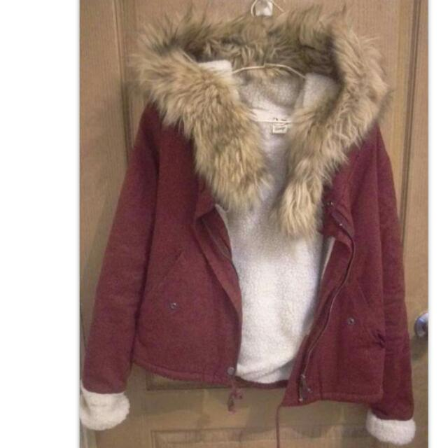 全新🎉超爆毛保暖短版酒紅內鋪毛軍裝外套