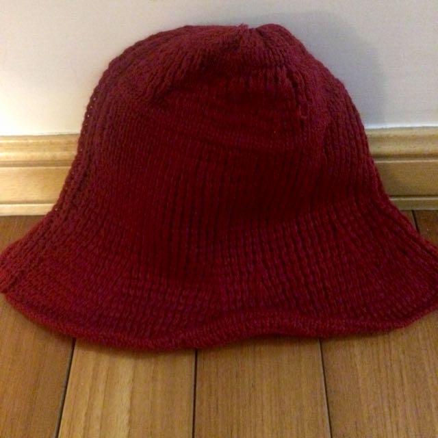 酒紅色漁夫毛帽