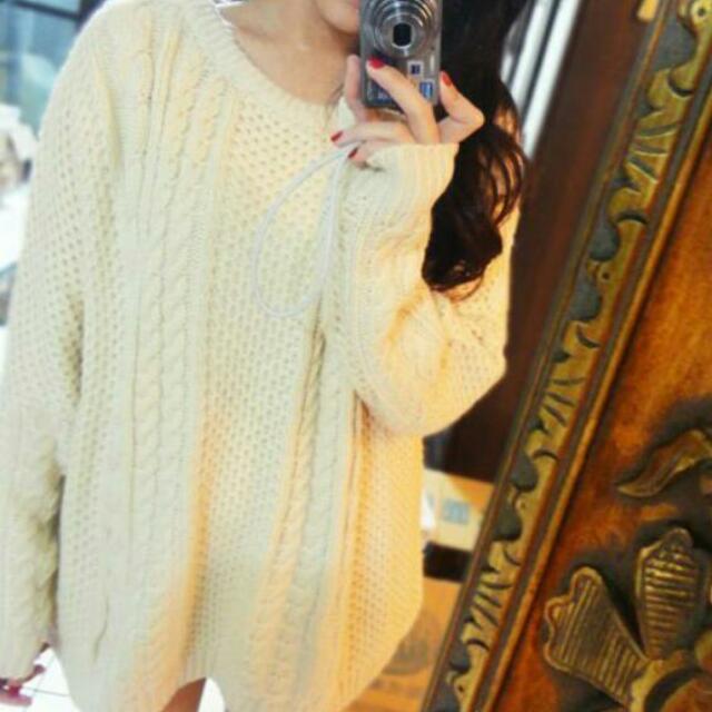 杏色 米色 粗針織 麻花 長版 毛衣