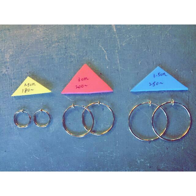 ◇金色圓環耳環◇夾式 針式 歐美 Asos
