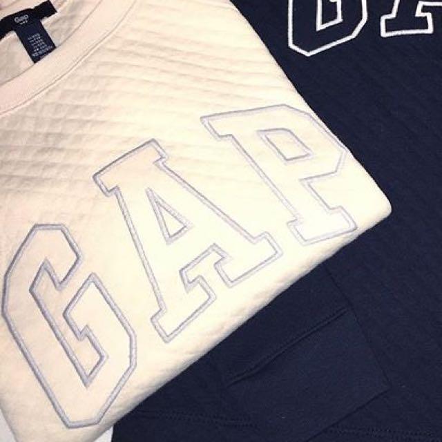 GAP 白色菱格大學t