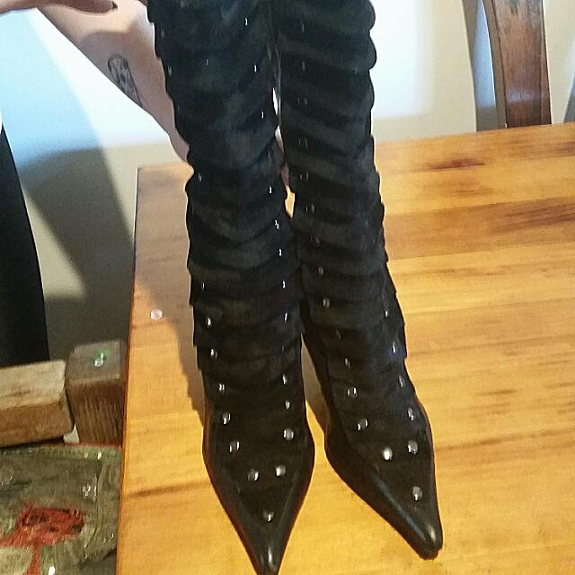 Knee High Pleated Boots Size 8