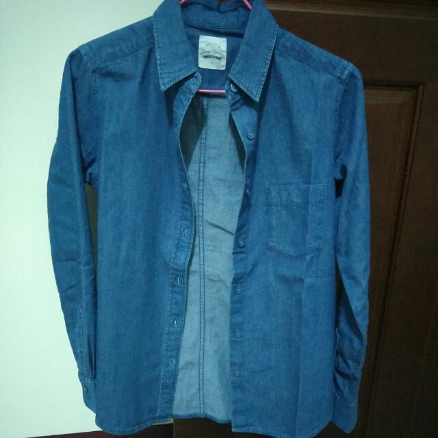 Lativ 丹寧長袖襯衫-女(藍色)