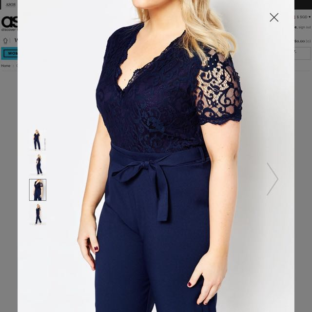 9cb6409c Navy Plus Size Jumpsuit With Scallop Lace Top, Women's Fashion on Carousell
