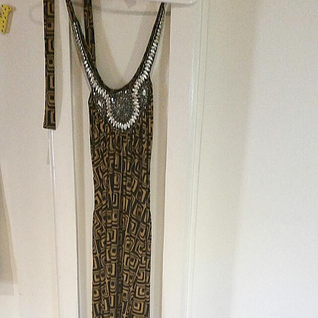 Retro Embellished Maxi Halter Neck Dress Size 8/10 Will Fit A 12 Stretchy