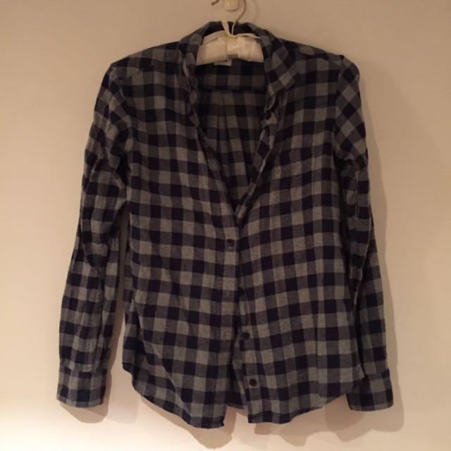 UNIQLO S號深藍灰格子襯衫