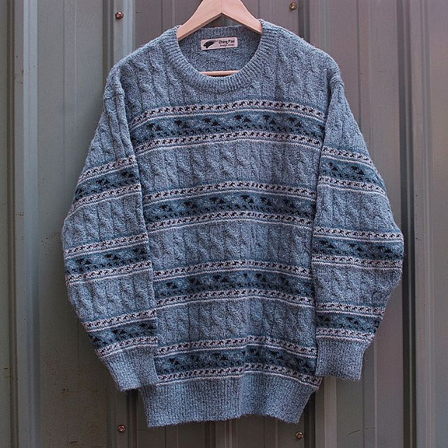 vintage chingPao 北歐漁夫麻花立體編織紋古著毛衣 sw-23