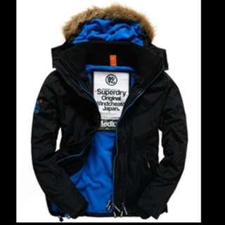 Superdry 極度乾燥 外套 風衣 黑藍 XXL