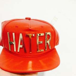 Hater正版紅色皮鴨舌帽