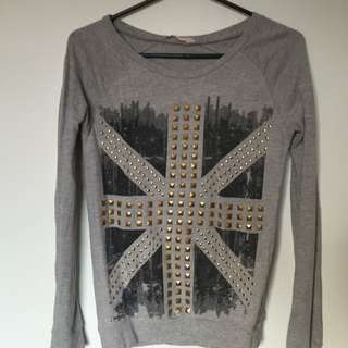Grey Shirt With Picture And Studs On Front