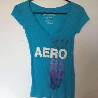 Blue V Neck T Shirt