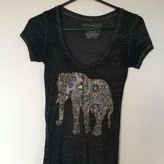 V Neck Elephant T Shirt
