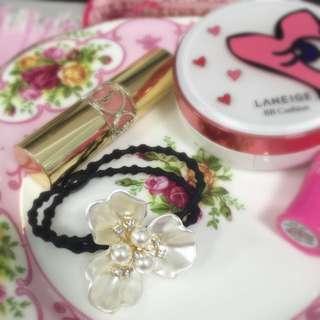 全新 韓國 花朵珍珠髮束
