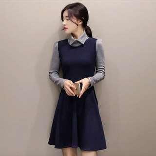 韓國韓版雙v領拼接假兩件OL套裝洋裝長版裙裝小禮服束腰縮腰修身顯瘦長袖